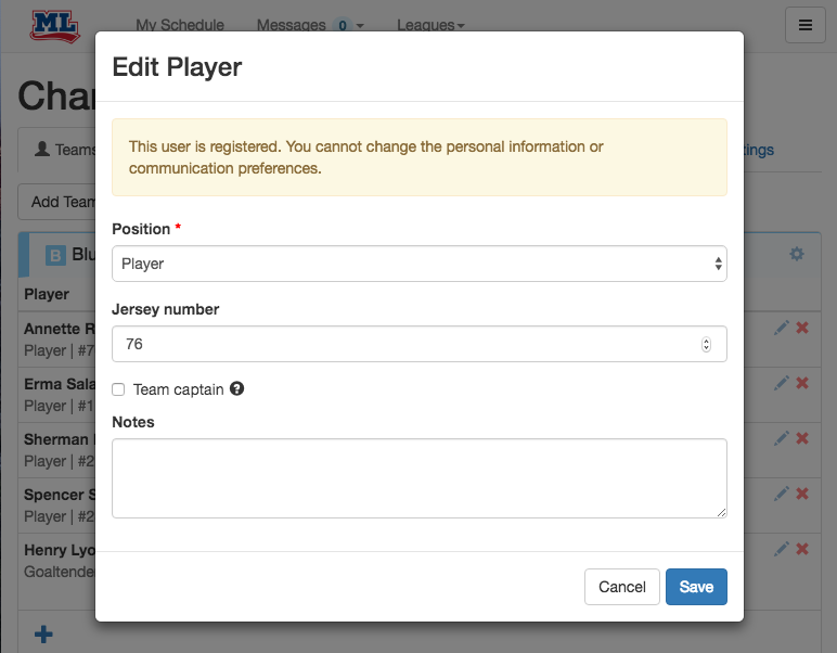 Setting a jersey number to a player from the team tab.