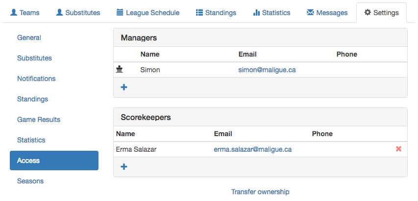 Scorekeeper management