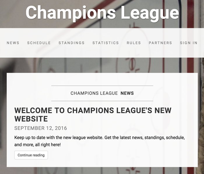 Example of a league website.