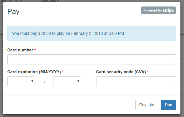 Enter a credit card.