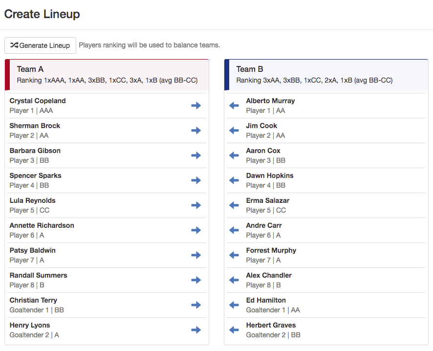 Easily create your game lineup